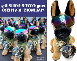 Plush Belgian Malinois MWD Police Dog with Green Vest, Badge