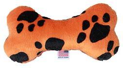 """Mirage Pet Products 6"""" Plush Bone Dog Toy Orange Paw"""