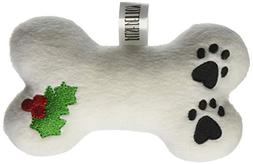 Plush Christmas Dog Toy with Squeaker Holly Bone