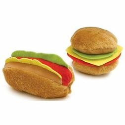 Plush Cuisine Hot Dog and Hamburger Squeak Toys