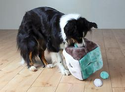 Plush Dog Activity Cube with 4 Play Balls Inside Fill with t