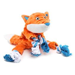 Plush Dog Toy, Fox Pattern Stuffingless Dog Rope Toy with 2
