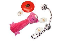 EMG Pet Emporium Plush Doll - Rope Toy - Squeaker Disc Bundl