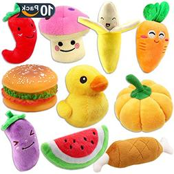 Plush Vegetable Dog Toy Set for Puppy, Squeaky Dog Toys 10 P