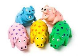 Multipet's 9-Inch Latex Polka Dot Globlet Pig Dog Toy, Assor