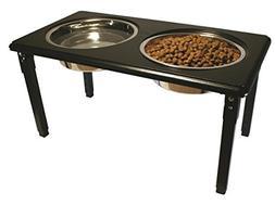 Ethical Pet POSTURE-PRO Adjustable Double Diner, Black, 2-Qu