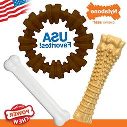 Nylabone Power Chew Toy Bundle - Dog Toys for Aggressive Che