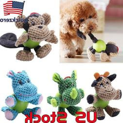 Puppy Chew Plush Dog Toys Pet Animals Squirrel Cotton Rope B