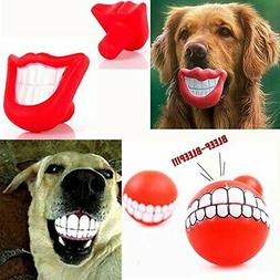 WHOMEC Puppy Dog Toys Big Red Chewing Squeaky toy Rubber for