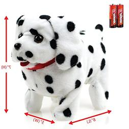 Toysery Puppy Plush Dog Black Whithe Toy Walking Barking Wag