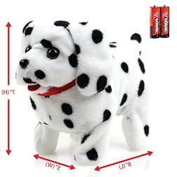 Toysery Puppy Plush Dog Black Whithe Toy Walking Barking Wag
