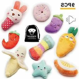 SZKOKUHO 9 Pack Puppy Squeaky Plush Dog Toys Set for Small D
