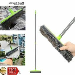 LandHope Push Broom Long Handle Rubber Bristles Sweeper Sque