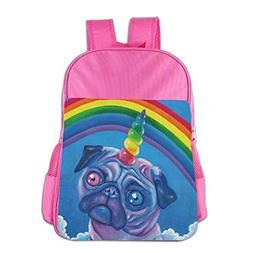Rainbow Pug Dog Unicorn School Backpack Children Shoulder Da
