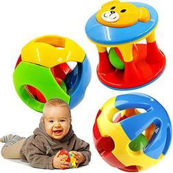 FOREAST 3 Pcs Baby Rattle Ball Toys Colourful Shaking Bell D