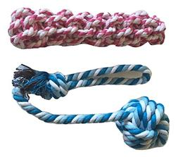 Brogan's Heroes Red and Blue Cotton Braided Rope Dog Toy 2-P