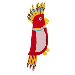 TOP PAW Red Parakeet Crinkle, Squeaker Flattie Dog Toy