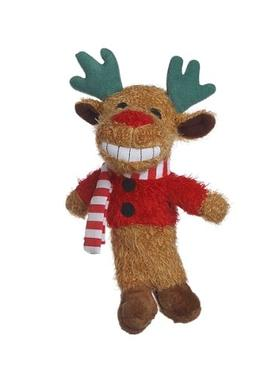 Multipet's 6-Inch Reindeer Loofa Plush Dog Toy That Squeaks