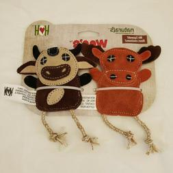 Hugglehounds Rope &Leather Dog Toys 2 Pak Duck/Bunny, Moose/