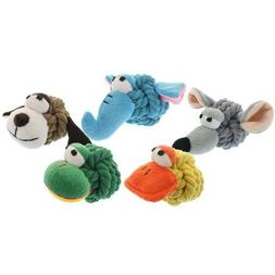 Multipet 4-Inch Rope Head Mouse Dog Toy with Plush Face