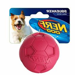Nerf Dog Rubber Squeaker Soccer Ball Toy for Dogs, Small, Re