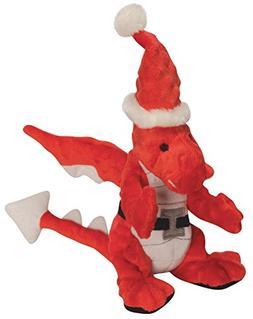 goDog Santa Holiday Dragon Tough Plush Dog Toy with Chew Gua