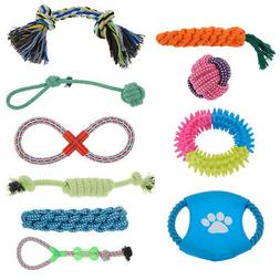 Set of 10 Dog Chew Squeaky Toys Cotton Rope Puppy Toy Variet