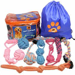 Set of 8 Heavy Duty Dog Rope Chew Teething Toys for Medium a