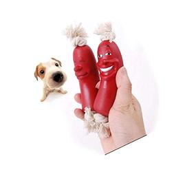"Stock Show 23.6"" Silicone Sausage Dog Chew Toy 3 Rope Link D"