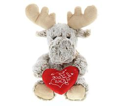 DolliBu Sitting Moose I Love You Valentines Stuffed Animal -