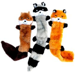 Skinny Peltz No Stuffing Squeaky Plush Dog Toy, Fox, Raccoon