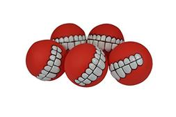 Downtown Pet Supply Smile Squeaker Balls, 5 Pack, by