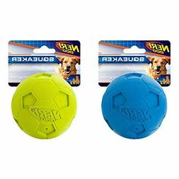 3.25inch Soccer Squeak Balls 2-Pack Blue and Green, Dog Toys