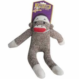 Sock Monkey Plush Dog Puppy Chew Play Run Toy Squeaks Sound