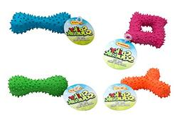 Ruffin' It Spiky Dog Squeakers Toy, Colors Vary, 3-Pack