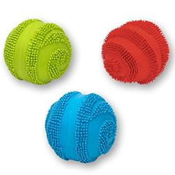 Latex Spiny Ball with Squeaker Dog Toy Size:Pack of 3 Color: