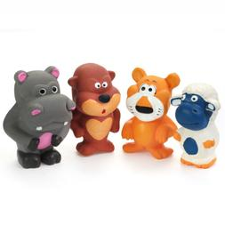 """Chiwava 4PCS 3.7"""" Squeak Latex Dog Toy Funny Standing Animal"""