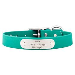 dogIDS Teal Waterproof Soft Grip Dog Collar with Built in La