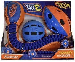 Nerf Dog Toy Set Crunch and Squeak Tuff Tug Ball Football Br