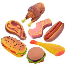 vinyl food shaped dog toys meat squeaker