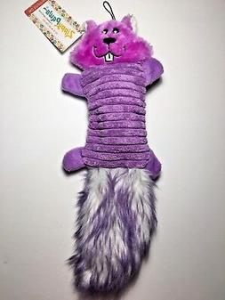 ZippyPaws Zingy 3-Squeaker No Stuffing Plush Dog Toy, Purple